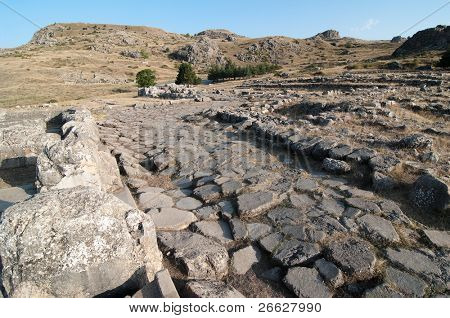paving stone in the ancient Hittite city of Hattusa, Turkey