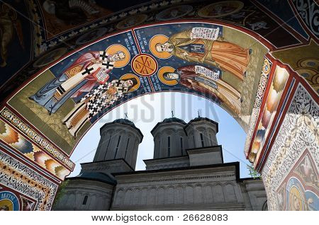 fresco of belfry tower and Radu Voda Monastery, a romanian orthodox church in Bucharest, Romania