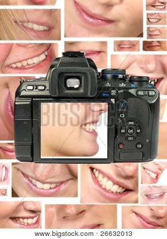Dslr shot of happy woman smile on LCD display