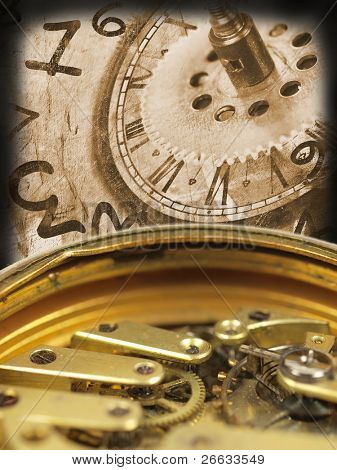 Grunge clock background with time machines tools and flying numbers