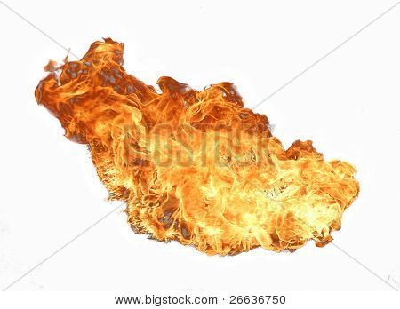 Fire flame isolated on white background