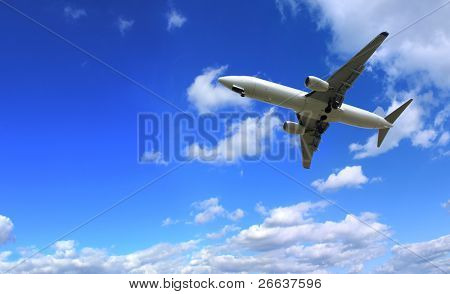 Big jet plane flying on perfect sky background