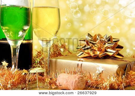 Champagne golden theme with shiny blur background