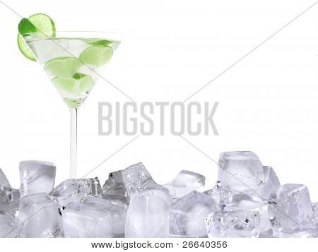 Mojito drink with ice cubes, isolated on white background