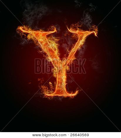 """Fire flaming letter """"Y"""""""