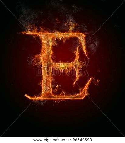Fire flaming letter