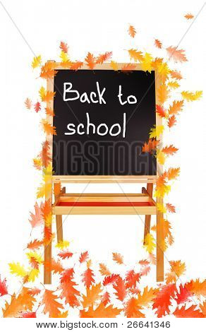 Back to school board with autumn leaves, isolated on white background