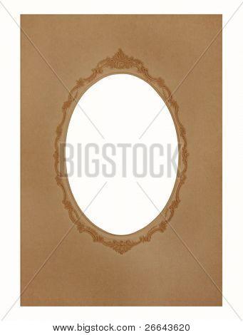 Vintage oval shaped frame, brown color