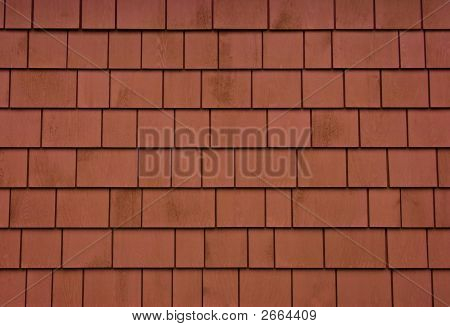 Red Wooden Siding Shingles