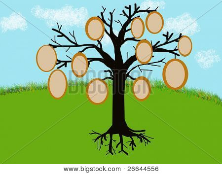 Tree with picture frames for family tree photos or text, jpeg illustration
