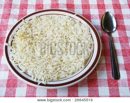 A plate with rice on checkered tablecloth