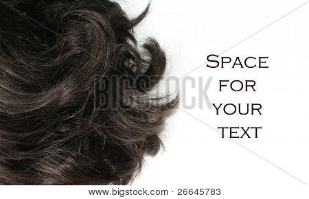 Black hair with white background for text