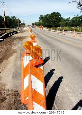 Lines of flash road cones