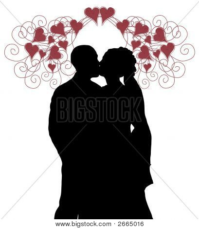Wedding Kiss With Hearts