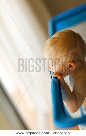 Baby Looking From Playpen