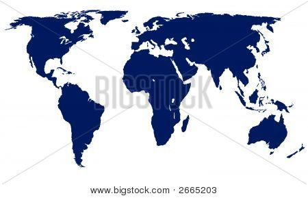Vector World Map - Blue On White Background