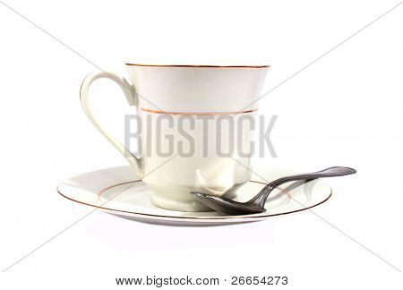Tea cup with saucer isolated on white