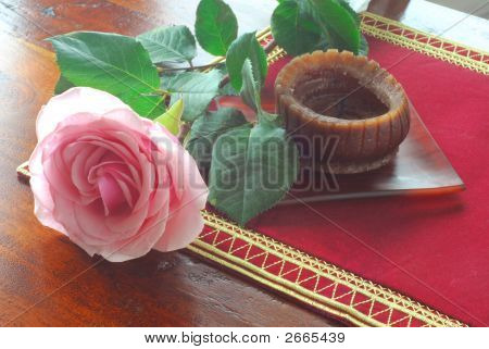 Pink Rose And Candle