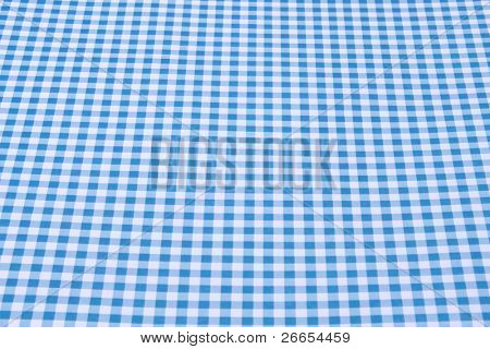 Blue and white tablecloth