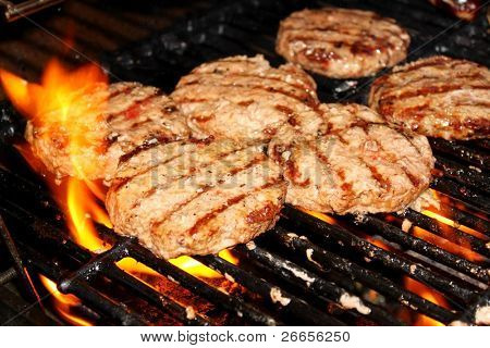Hamburger patties on a grill