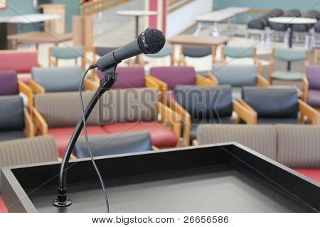 Stage in front of empty chairs