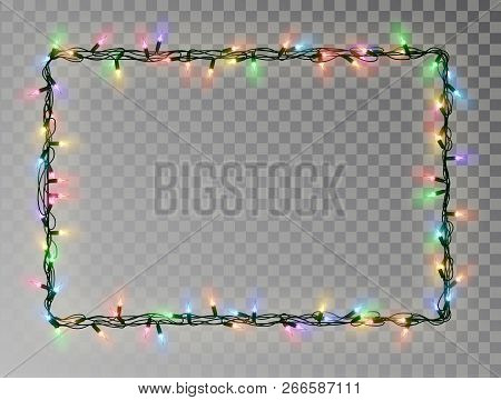 poster of Christmas Lights Border Vector, Light String Frame Isolated On Dark Background With Copy Space. Tran