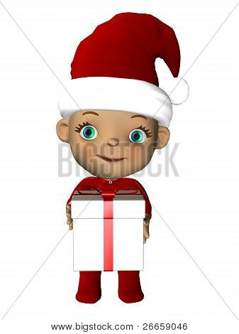 Christmas Baby With Gift Standing