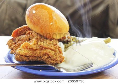 Southern meal of fried chicken and potatoes