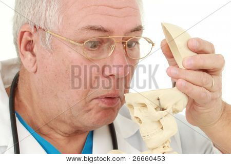 Doctor surprised to see an empty skull