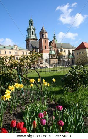 Wawel Castle In Blooming Flowers. Krakow. Poland.