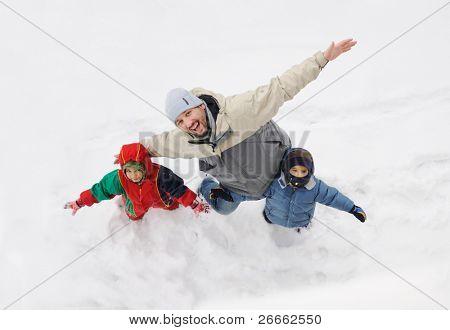 Happy family on winter vacation