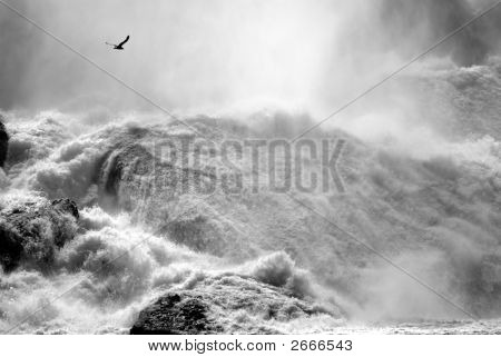 Rocky Base Of Niagara Falls.