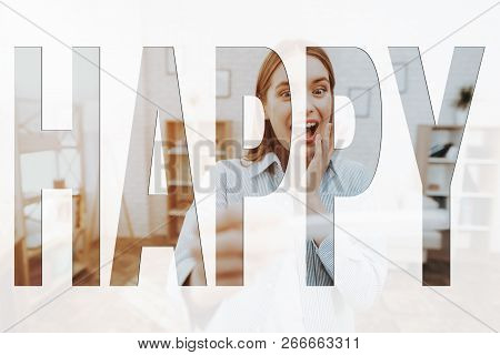 poster of Happy Family. Girl Holding A Pregnancy Test. Girl Are Surprised. Girl Happy And Smiling. Girl Are Fe