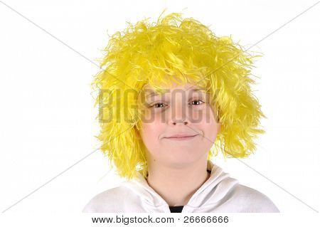 Little boy with yellow hair wig