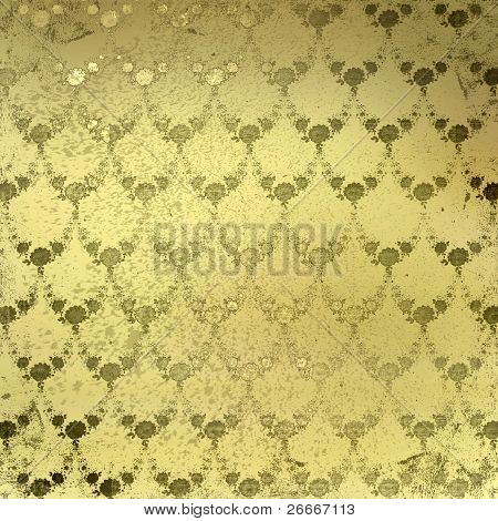 Grunge Gold Background With Ancient Floral Ornament