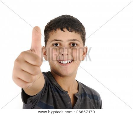 Happy boy with thumb up smiling, isolated