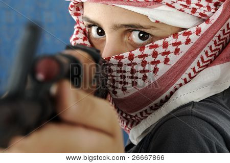 Kid warrior, soldier, shooting, rifle, toy terrorist