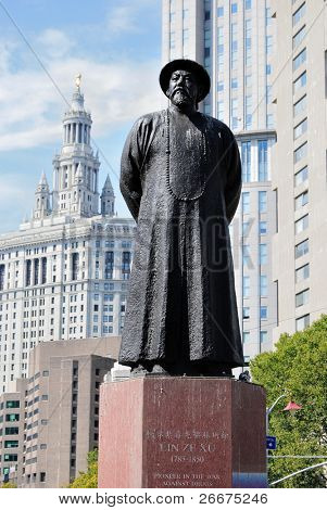 Lin Zexu statue in Chinatown, New York City. Lin Zexu is remember as a pioneer in the war on drugs.
