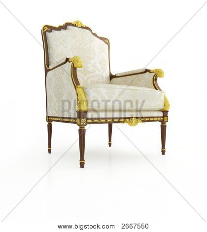 Classical Armchair 3D Computer Rendering On White Background