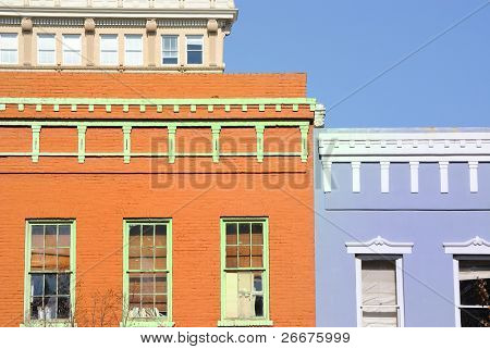 Old buildings with vivid paint.