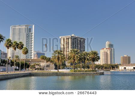 Coast and skyline of St. Petersburg, Florida.