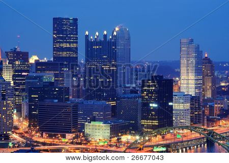 Skyline of Pittsburgh, Pennsylvania with corporate building logos removed.