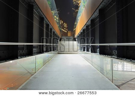 Walk Bridge in New York City Leading to the High Line, a former elevated freight railroad converted into a pedestrian greenway in Manhattan.
