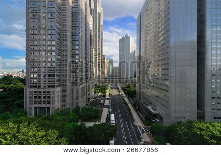 View of Metropolitan Government buildings in Shinjuku, Tokyo, Japan.