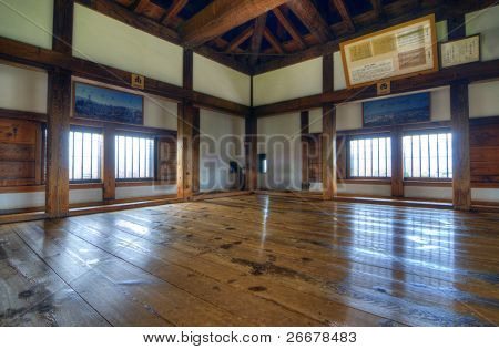 MATSUMOTO, JAPAN - JULY 7: Matsumoto Castle retains its original wooden interior from the 16th century on July 7, 2011 in Matsumoto, Japan. Matsumoto is one of the few to retain such a historic interior.