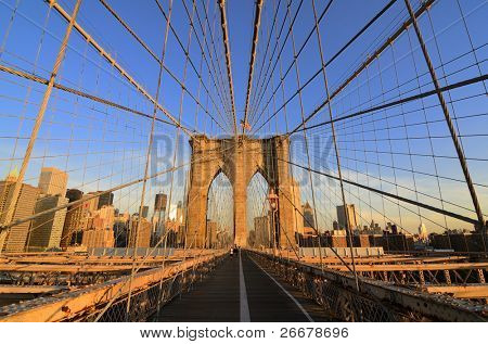Walkway on the brooklyn bridge in New York City.