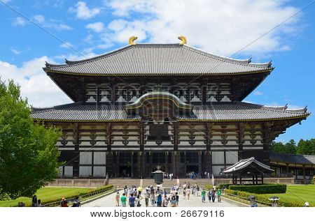 NARA, JAPAN - JULY 17: The Great Buddha Hall at Todai-ji July 17, 2011 in Nara, JP. An UNESCO World Heritage Site, the structure is the largest all wooden building in the world.