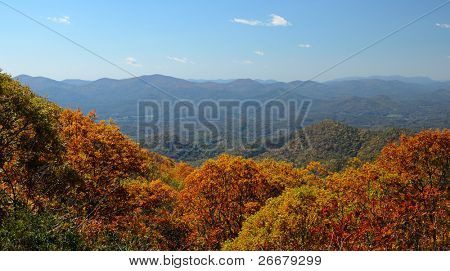 View of the Blue Ridge Mountains during fall season from Brasstown Bald, the highest elevation in the state of Georgia, USA.