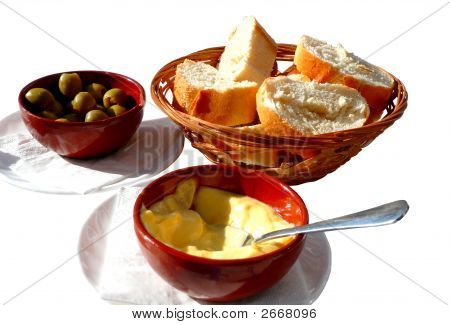 Bread, Olives And Alioli