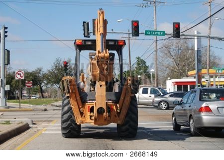 Tractor At Stop Light